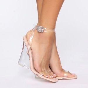 Clear wedged heels